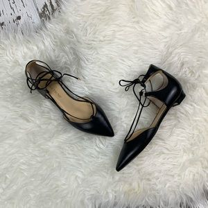 New Black Leather Designer Dress Flats Shoes